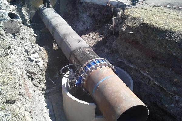 Propojovací potrubí sacích jímek čerpadel na Vodárně č. 3